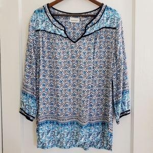 Avenue | 18/20 blue & aqua printed tunic top